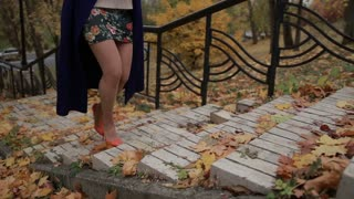 Woman's legs in high heels stepping up the stairs
