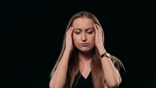 Young stressed woman thinking over problem