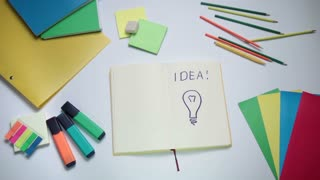 Word Idea and light bulb written on white note pad