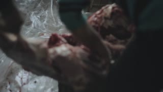A close view of a male cutting a big piece of raw meat into pieces with a knife. Two other people are helping him. Only their hands are seen.