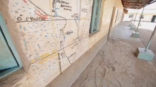 Beautiful picture of map on the wall of house in Africa.