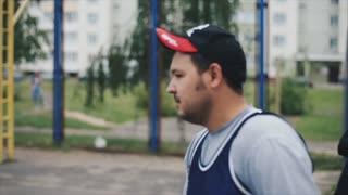 Belarus, Bobruisk, 20. 10. 2016 15. 08. 2017 Bobruisk, Belarus. Boys/guys playing basketball. Basketball coach. Whistling