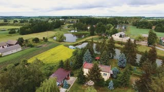 Aerial drone shot of agricultural fields in small village