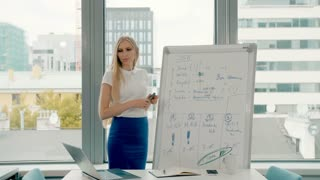 Business woman making presentation on whiteboard. Young stylish woman with long blond hair writing on whiteboard while making presentation in modern office against window.