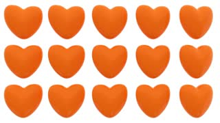Loop animated pattern of 3D hearts isolated on white background