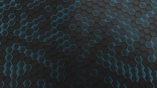 0080 Wall Of Black Hexagons With Blue Glow