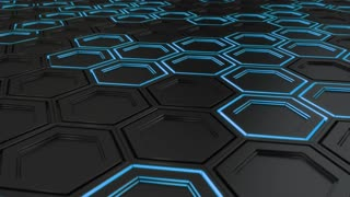 0081 Wall Of Black Hexagons With Blue Glow