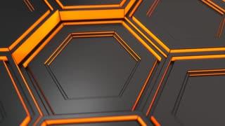 0100 Wall Of Black Hexagons With Orange Glow