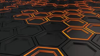 0105 Wall Of Black Hexagons With Orange Glow