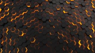 0107 Wall Of Black Hexagons With Orange Glow
