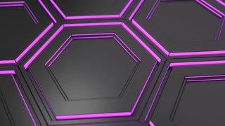 0109 Wall Of Black Hexagons With Purple Glow