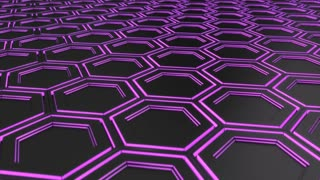 0111 Wall Of Black Hexagons With Purple Glow