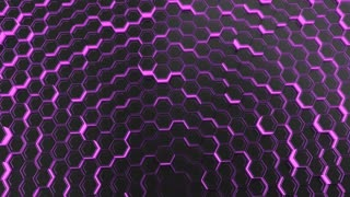 0113 Wall Of Black Hexagons With Purple Glow