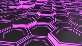 0114 Wall Of Black Hexagons With Purple Glow