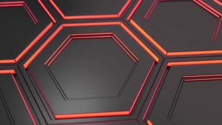 0121 Wall Of Black Hexagons With Red Glow