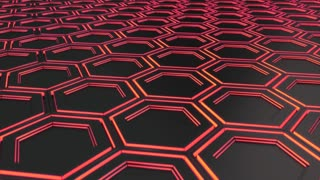 0123 Wall Of Black Hexagons With Red Glow