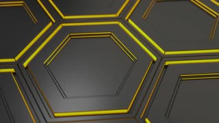 0133 Wall Of Black Hexagons With Yellow Glow