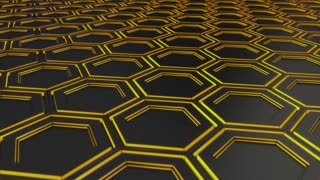 0135 Wall Of Black Hexagons With Yellow Glow