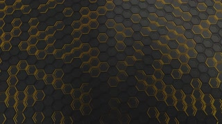 0140 Wall Of Black Hexagons With Yellow Glow
