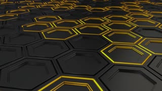 0141 Wall Of Black Hexagons With Yellow Glow