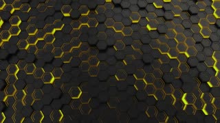 0143 Wall Of Black Hexagons With Yellow Glow