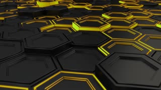 0144 Wall Of Black Hexagons With Yellow Glow