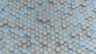 0161 Wall Of White Hexagons With Blue Glow
