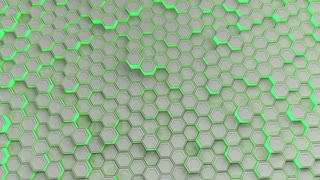 0167 Wall Of White Hexagons With Green Glow