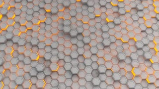 0185 Wall Of White Hexagons With Orange Glow