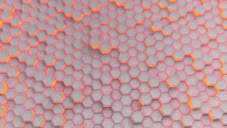 0203 Wall Of White Hexagons With Red Glow