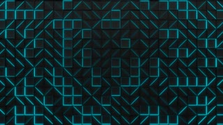 0306 Wall Of Black Rectangle Tiles With Blue Glowing Elements