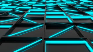 0307 Wall Of Black Rectangle Tiles With Blue Glowing Elements