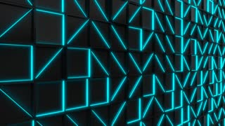 0309 Wall Of Black Rectangle Tiles With Blue Glowing Elements