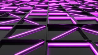 0331 Wall Of Black Rectangle Tiles With Purple Glowing Elements