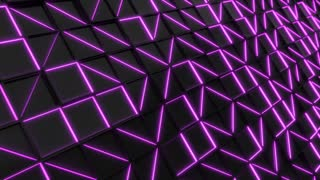 0334 Wall Of Black Rectangle Tiles With Purple Glowing Elements