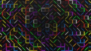 0348 Wall Of Black Rectangle Tiles With Glowing Elements