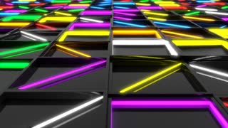 0349 Wall Of Black Rectangle Tiles With Glowing Elements