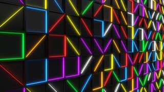 0351 Wall Of Black Rectangle Tiles With Glowing Elements