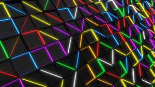 0352 Wall Of Black Rectangle Tiles With Glowing Elements