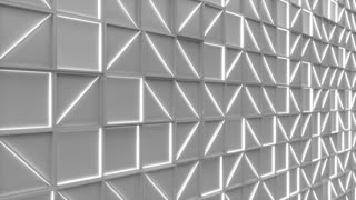 0375 Wall Of White Rectangle Tiles With White Glowing Elements