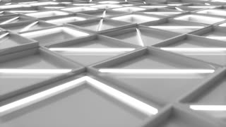0377 Wall Of White Rectangle Tiles With White Glowing Elements