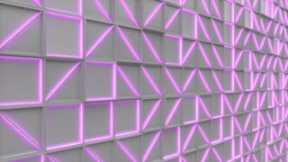 0387 Wall Of White Rectangle Tiles With Purple Glowing Elements