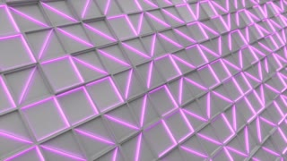 0388 Wall Of White Rectangle Tiles With Purple Glowing Elements