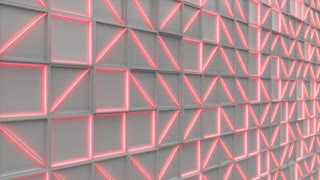 0393 Wall Of White Rectangle Tiles Red White Glowing Elements