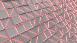 0394 Wall Of White Rectangle Tiles Red White Glowing Elements