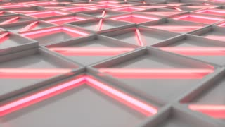 0395 Wall Of White Rectangle Tiles Red White Glowing Elements