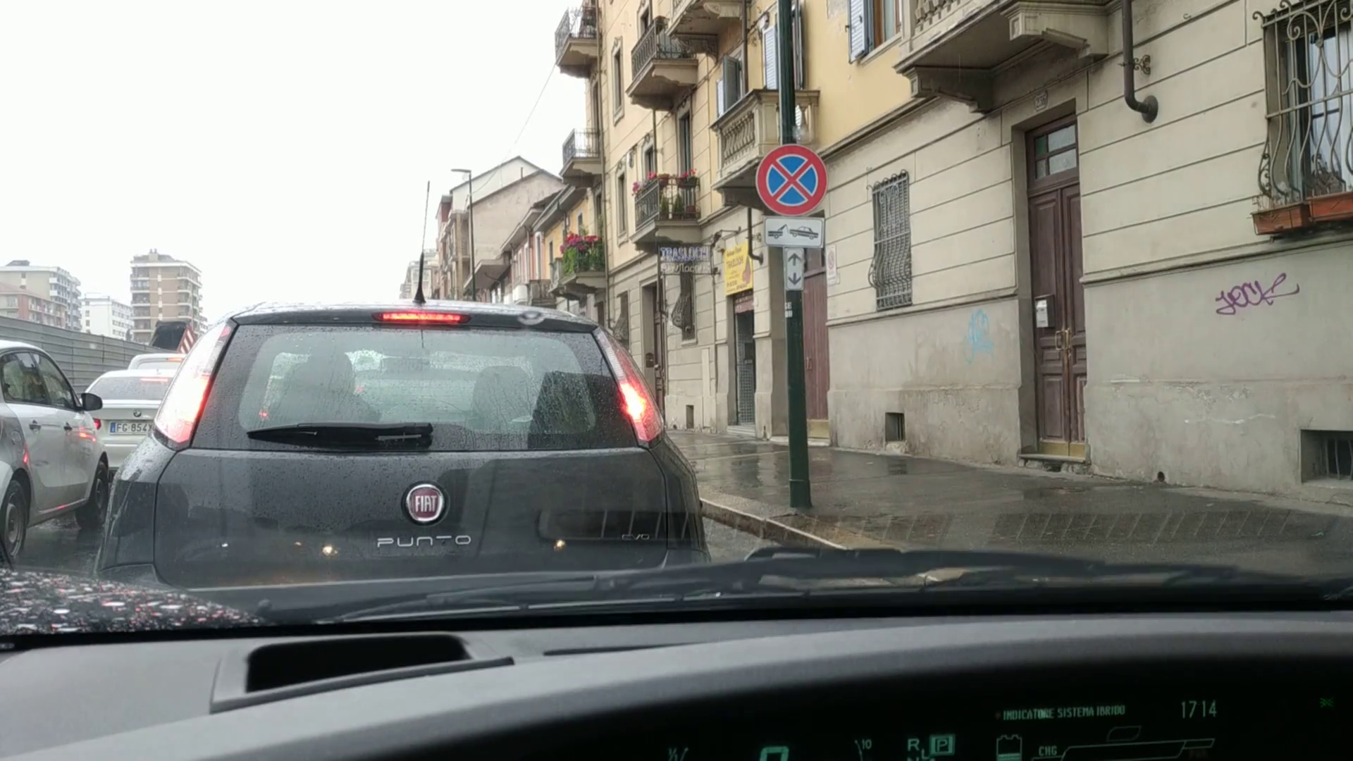Turin Piedmont Italy May 2019 The Spring Climate Brings Continuous Rainfall The Wiper Of The Car Intermittently Cleans The Glass Viewpoint From The Driving Seat Toyota Prius 25fps Stock Video Footage Storyblocks