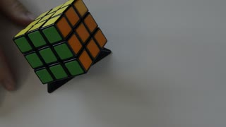 Turin, Piedmont region, Italy. April 19, 218. This legendary puzzle was invented in 1974 by architect Erno Rubik. Video ful hd in which the cube is observed and manipulated.