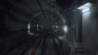 Pov view, subway train starts his moving from one station to other in the end, through curved web of city underground tunnels, meeting another train in the middle of his travel