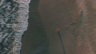 Aerial drone slow motion footage of young blonde woman run around beach happy and excited about vacation. makes selfies on smartphone, exhilarated and amazed by beauty of sunset